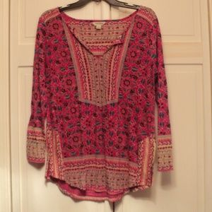 Bright Lucky Brand Hot Pink Tunic